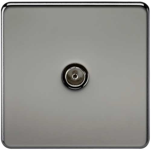 KnightsBridge Coaxial TV Outlet 1G Screwless Black Nickel Un-Isolated Wall Plate  - Click to view a larger image