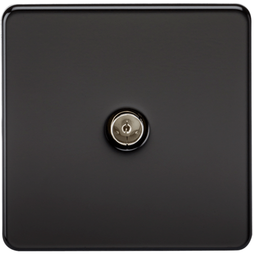 KnightsBridge Coaxial TV Outlet 1G Screwless Matt Black Un-Isolated Wall Plate  - Click to view a larger image