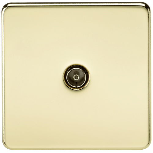 KnightsBridge Coaxial TV Outlet 1G Screwless Polished Brass Un-Isolated Wall Plate  - Click to view a larger image