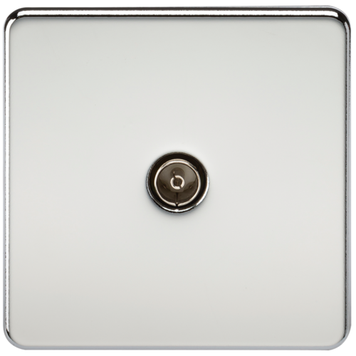KnightsBridge Coaxial TV Outlet 1G Screwless Polished Chrome Un-Isolated Wall Plate  - Click to view a larger image