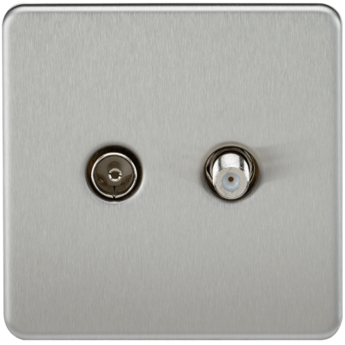 KnightsBridge Coaxial TV and SAT TV Outlet 1G Screwless Brushed Chrome Isolated Wall Plate  - Click to view a larger image