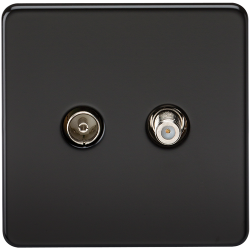 KnightsBridge Coaxial TV and SAT TV Outlet 1G Screwless Matt Black Isolated Wall Plate  - Click to view a larger image