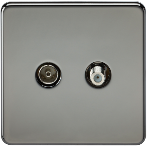KnightsBridge Coaxial TV and SAT TV Outlet 1G Screwless Black Nickel Isolated Wall Plate  - Click to view a larger image