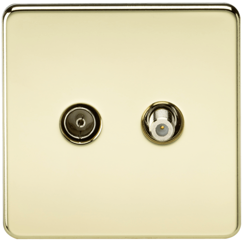 KnightsBridge Coaxial TV and SAT TV Outlet 1G Screwless Polished Brass Isolated Wall Plate  - Click to view a larger image