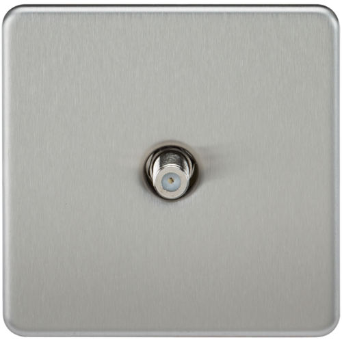 KnightsBridge SAT TV Outlet 1G Screwless Brushed Chrome Non-Isolated Wall Plate  - Click to view a larger image