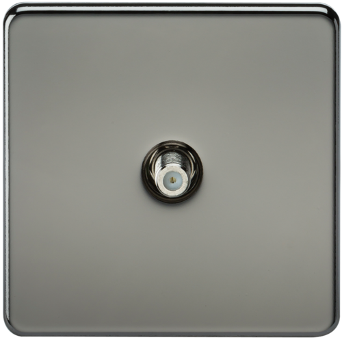 KnightsBridge SAT TV Outlet 1G Screwless Black Nickel Non-Isolated Wall Plate  - Click to view a larger image