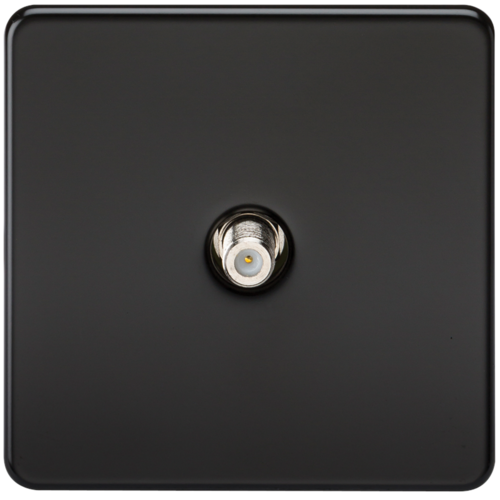 KnightsBridge SAT TV Outlet 1G Screwless Matt Black Non-Isolated Wall Plate  - Click to view a larger image