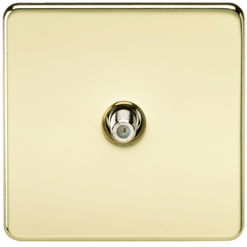 KnightsBridge SAT TV Outlet 1G Screwless Polished Brass Non-Isolated Wall Plate  - Click to view a larger image