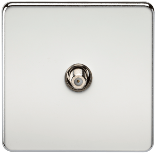 KnightsBridge SAT TV Outlet 1G Screwless Polished Chrome Non-Isolated Wall Plate  - Click to view a larger image
