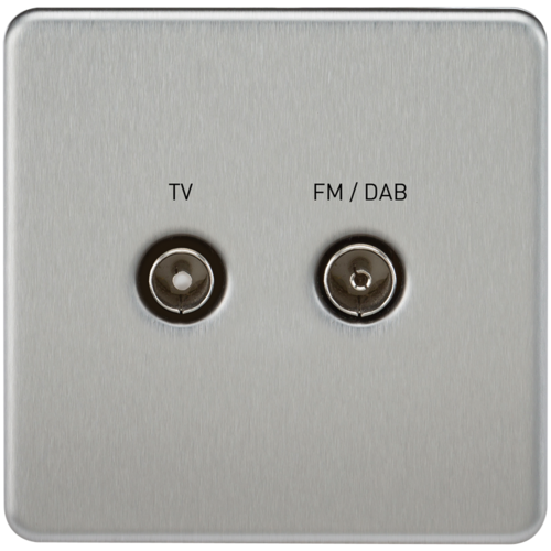 KnightsBridge Screened Diplex TV and FM DAB Outlet 1G Screwless Brushed Chrome Wall Plate  - Click to view a larger image