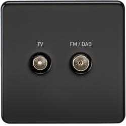 KnightsBridge Screened Diplex TV and FM DAB Outlet 1G Screwless Matt Black Wall Plate