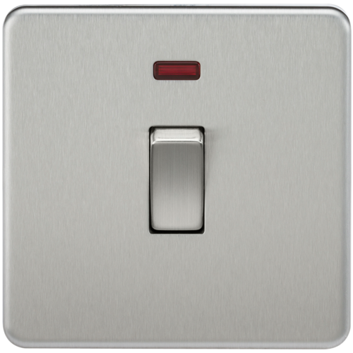 KnightsBridge 20A 1G DP 230V Screwless Brushed Chrome Electric Wall Plate Switch with Neon  - Click to view a larger image
