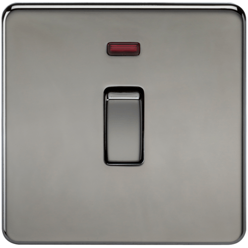 KnightsBridge 20A 1G DP 230V Screwless Black Nickel Electric Wall Plate Switch with Neon  - Click to view a larger image