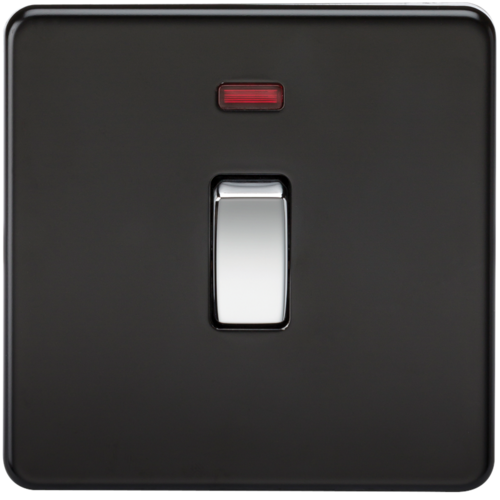 KnightsBridge 20A 1G DP 230V Screwless Matt Black Electric Wall Plate Switch with Neon  - Click to view a larger image