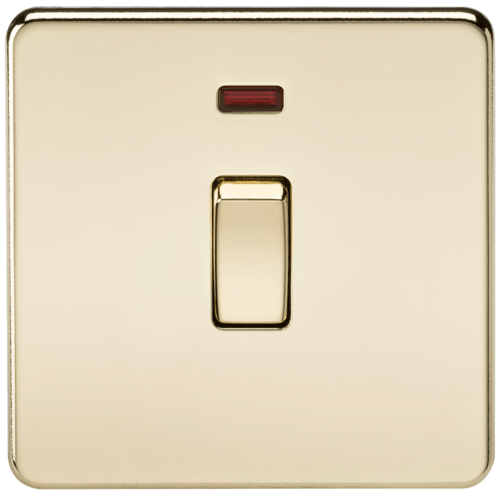 KnightsBridge 20A 1G DP 230V Screwless Polished Brass Electric Wall Plate Switch with Neon  - Click to view a larger image