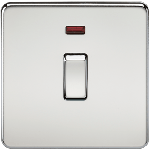 KnightsBridge 20A 1G DP 230V Screwless Polished Chrome Electric Wall Plate Switch with Neon 1