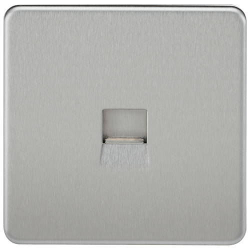 KnightsBridge Screwless Brushed Chrome Telephone Master Socket Flush Wall Socket  - Click to view a larger image