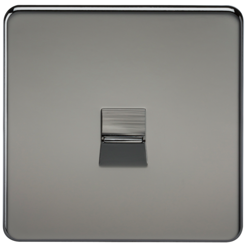 KnightsBridge Screwless Black Nickel Telephone Master Socket Flush Wall Socket  - Click to view a larger image