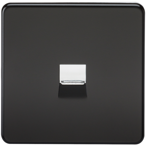 KnightsBridge Screwless Matt Black Telephone Master Socket Flush Wall Socket  - Click to view a larger image