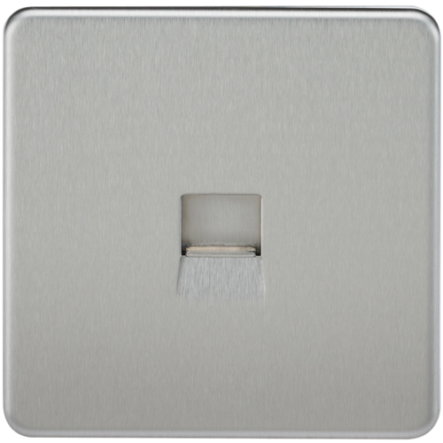 KnightsBridge Screwless Brushed Chrome Telephone Extension Socket  - Click to view a larger image