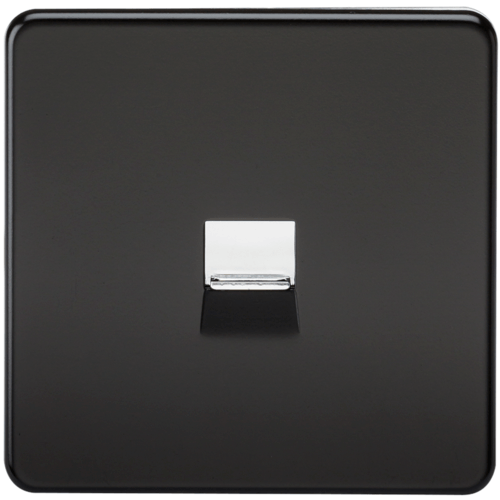 KnightsBridge Screwless Matt Black Telephone Extension Socket Flush Wall Socket  - Click to view a larger image