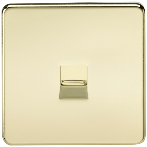 KnightsBridge Screwless Polished Brass Telephone Extension Socket  - Click to view a larger image
