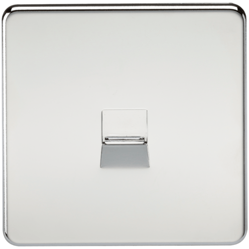 KnightsBridge Screwless Polished Chrome Telephone Extension Flush Wall Socket  - Click to view a larger image