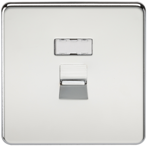 KnightsBridge Screwless Polished Chrome RJ45 Network Outlet Wall Socket  - Click to view a larger image