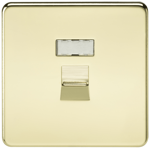 KnightsBridge Screwless Polished Brass RJ45 Network Outlet Wall Socket  - Click to view a larger image
