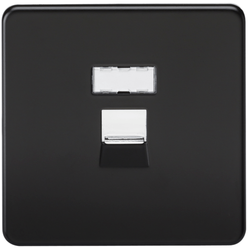 KnightsBridge Screwless Matt Black RJ45 Network Outlet Wall Socket  - Click to view a larger image