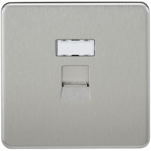 KnightsBridge Screwless Brushed Chrome RJ45 Network Outlet Wall Socket  - Click to view a larger image