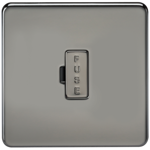 KnightsBridge 13A Screwless Black Nickel Fused Spur Connector Unit Wall Plate  - Click to view a larger image