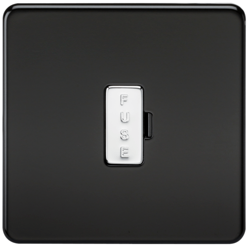 KnightsBridge 13A Screwless Matt Black Fused Spur Connector Unit Wall Plate  - Click to view a larger image