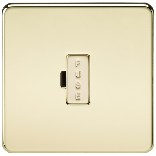 KnightsBridge 13A Screwless Polished Brass Fused Spur Connector Unit Wall Plate  - Click to view a larger image