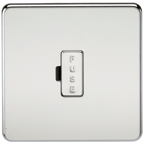 KnightsBridge 13A Screwless Polished Chrome Fused Spur Connector Unit Wall Plate  - Click to view a larger image