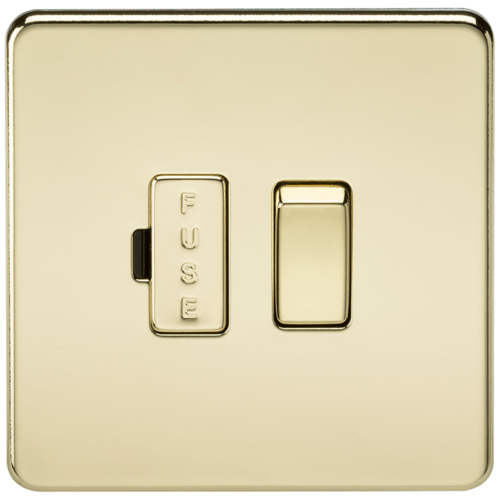 KnightsBridge 13A Screwless Polished Brass Switched Fused Spur Connector Unit  - Click to view a larger image
