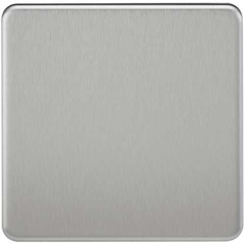 KnightsBridge Screwless 1G Blanking Plate Brushed Chrome  - Click to view a larger image