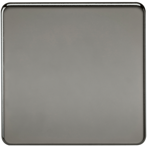 KnightsBridge Screwless 1G Blanking Plate Black Nickel  - Click to view a larger image