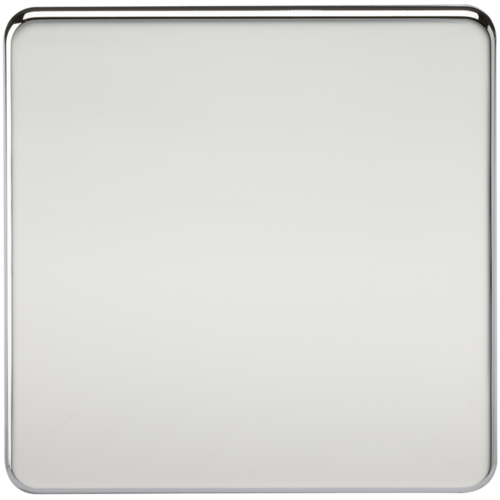 KnightsBridge Screwless 1G Blanking Plate Polished Chrome  - Click to view a larger image