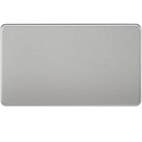 KnightsBridge Screwless 2G Blanking Plate Brushed Chrome  - Click to view a larger image