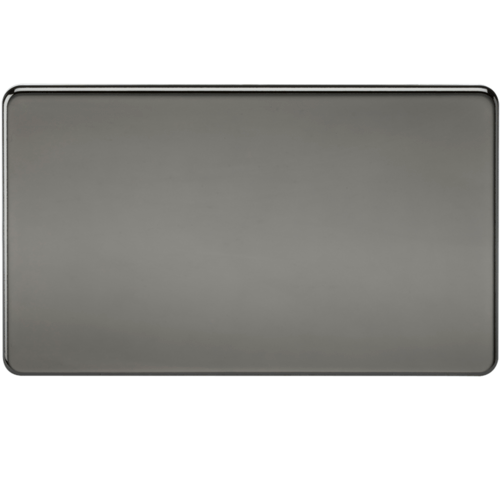 KnightsBridge Screwless 2G Blanking Plate Black Nickel  - Click to view a larger image