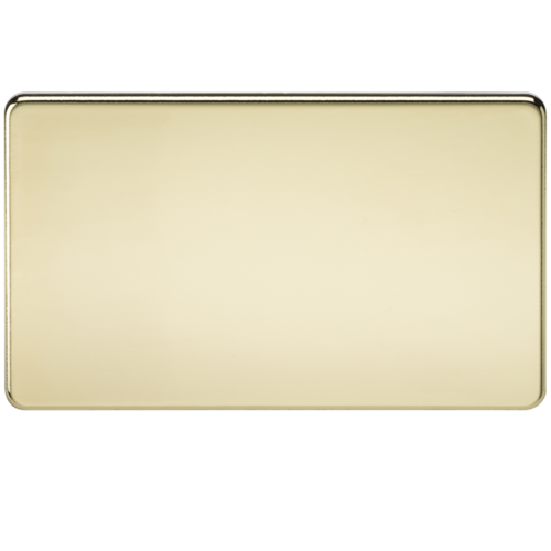 KnightsBridge Screwless 2G Blanking Plate Polished Brass  - Click to view a larger image