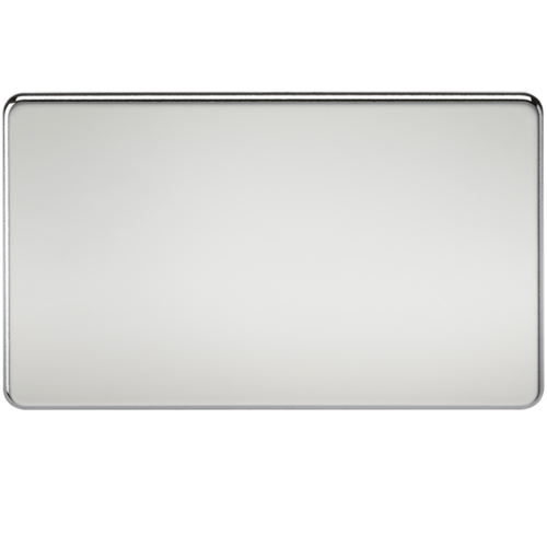 KnightsBridge Screwless 2G Blanking Plate Polished Chrome  - Click to view a larger image