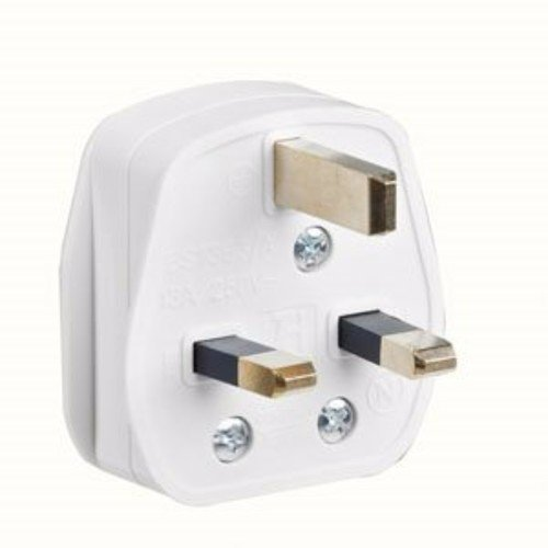 Greenbrook 13A White Plastic Electrical Safety UK Mains 3 Pin Plug Top