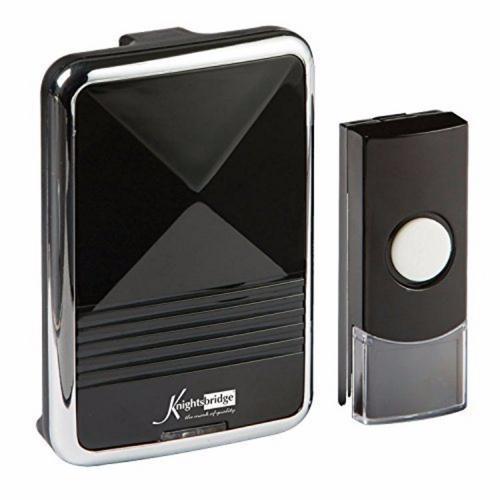 KnightsBridge 200m Range Wireless Door Bell Chime U0026 Push   Black U0026 Chrome    Click To