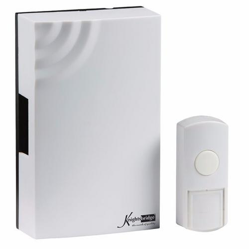 KnightsBridge 100m Range Wireless Wired Mechanical Door Bell Chime & Push White  - Click to view a larger image