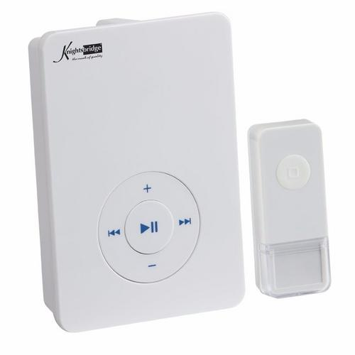 KnightsBridge 200m Range Wireless MP3 Door Bell Chime & Push - White  - Click to view a larger image