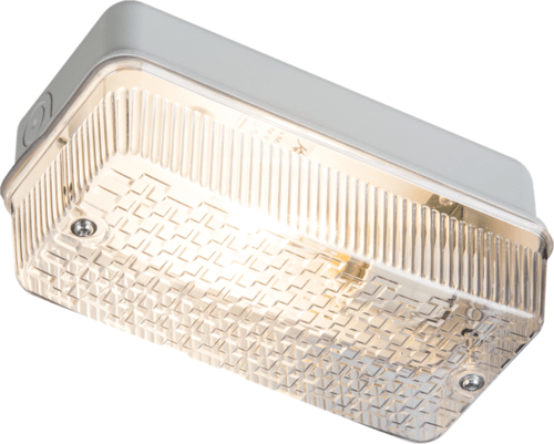 KnightsBridge 100W IP65 BC B22d Aluminium Base Clear Polycarbonate Bulkhead  - Click to view a larger image