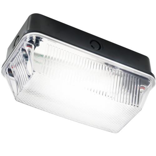 KnightsBridge 60W IP65 BC B22d Black Plastic Base Clear Prismatic Diffuser Bulkhead  - Click to view a larger image