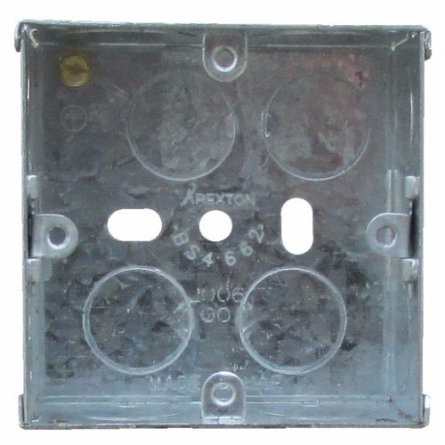 ESR 1 Gang 35mm Single Flush Recessed Galvanised Metal Back Box  - Click to view a larger image